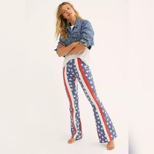 NWT Free People Stars & Stripes Penny Flare Jeans